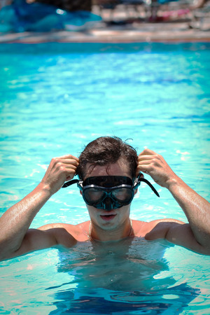 snorkelling: Picture of a young man in a snorkelling mask