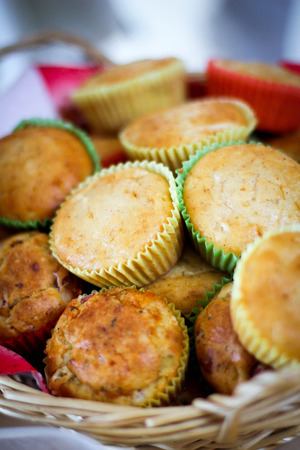 Picture of fresh muffins in the basket