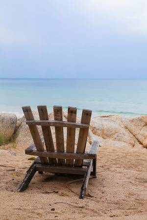 Beach chair on the beach with a sea view Stock Photo
