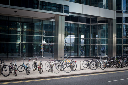 Bicycles parked in the city centre Stock Photo