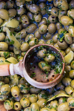 Delicious green olives on the market Stock Photo