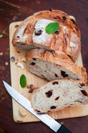 Cranberry and walnut bread and red wine Stock Photo