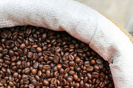 Roasted coffee beans on the market for sale Stock Photo