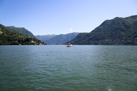Beautiful landscape of the ship on the lake Como, Italy