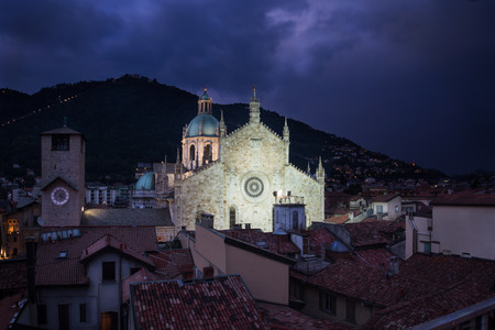 View over beautiful Como dome in Italy at dusk