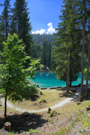 Beautiful landscape at the lake Cauma in Switzerland on a sunny day