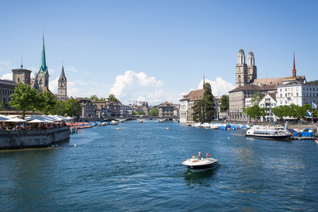 View over the river in Zurich, Switzerland from the bridge on a sunny day