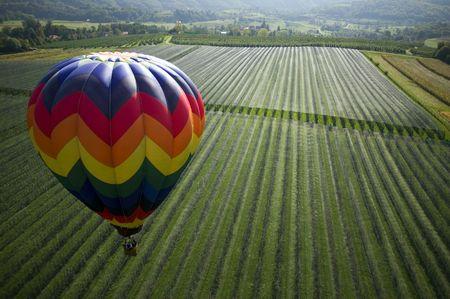 Op het gebied van boven met ballon op de voorgrond weer geven. Stockfoto