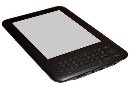 Modern e-book reader isolated on white.