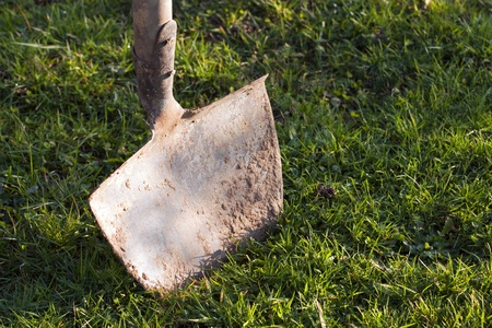 Closeup of the shovel in the ground. Stock Photo - 8329828