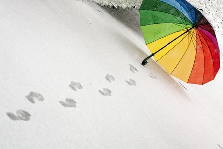 Colorful umbrella in the fresh fallen snow with some footprints around it. photo
