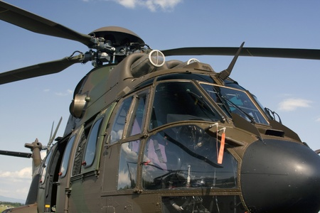 Closeup of the military helicopter cabin. Standard-Bild