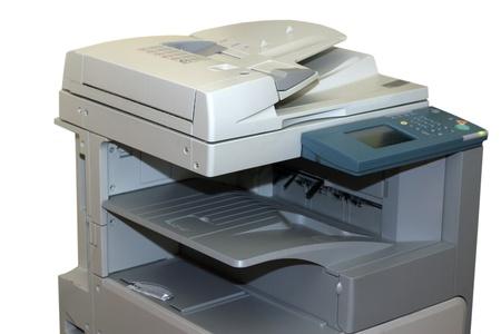 photocopy: Closeup of the photocopy machine isolated on white