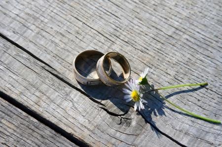Trouwringen met twee daisy bloemen.