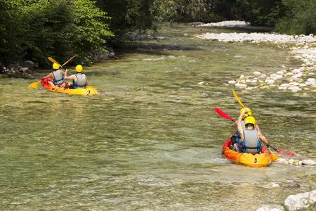 persevere: White water rafting on the river Soca in Slovenia.