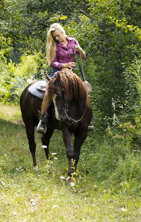 Beautiful blond woman on the brown horse.