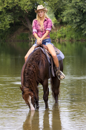 Cowgirl on a horse in the river drinking the water.