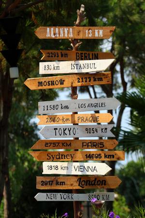 Handgemaakte houten bord met bestemmingen wereld grootste steden.