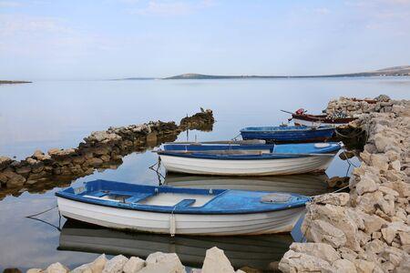 Small fishing boats docked in the island of Pag, Croatia. Standard-Bild
