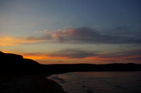 azov sea: Sunset on the coast of the Azov Sea