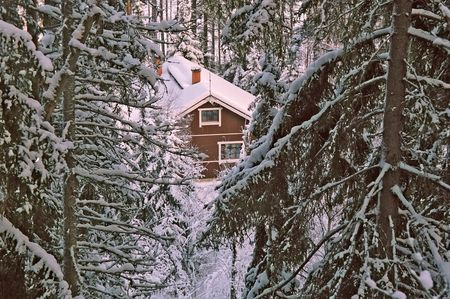 lonely house in winter forest Stock Photo - 249547