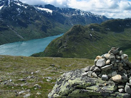 cairn on tourist path among beautiful norwegian nature Stock Photo - 354105