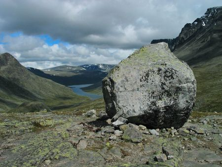jostedal: big lonely stone among mountains