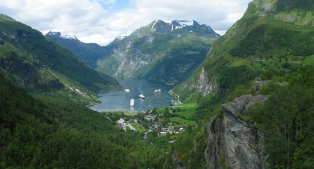 Geiranger fjord panoramic view Stock Photo