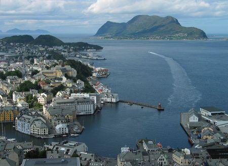 groyne: Aalesund panorama. North sea view. Norway.