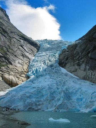 jostedal: Vertical view of the Briksdal glacier, Norway