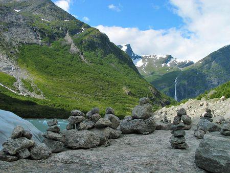 hight: Some stone pyramids near Briksdal glacier
