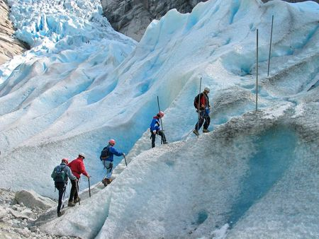 Group of climbers on a route Stock Photo