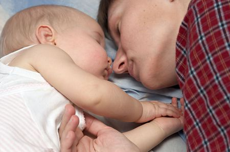 mother and daughter sleeping near Stock Photo - 357012
