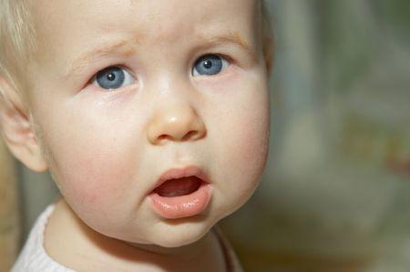closeup portrait of grey-eyed little girl Stock Photo - 357014