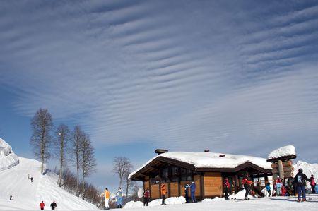 ski-resort with amazing sky, Red Field, Sochi, Russia