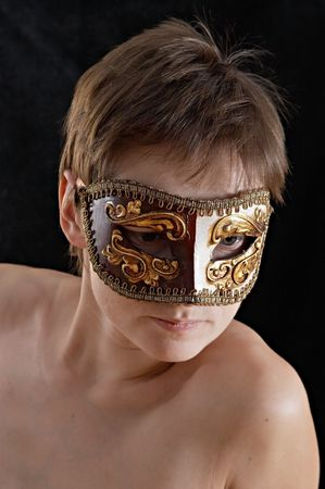 woman in the masquerade mask, portrait on black background Stock Photo - 356949