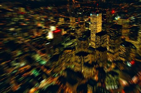 inclination: City lights from the birds eye. View from CN Tower, Toronto, Canada. Stock Photo