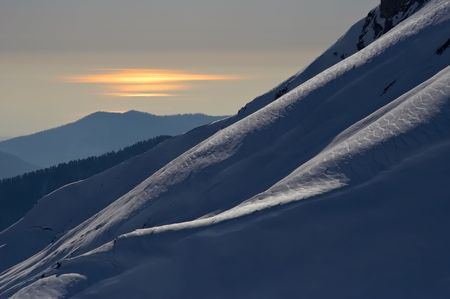Sunset landscape with Caucasus mountains and Black Sea, Sochi, Russia photo