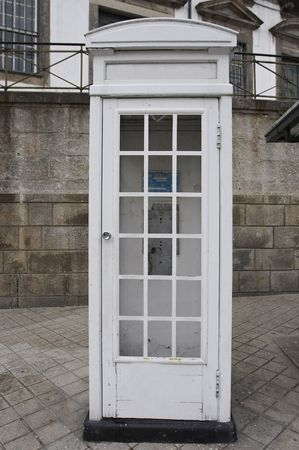 old wooden white telephone booth Stock Photo - 608996
