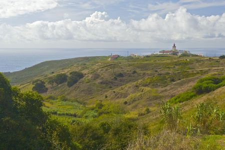 roca: panoramic view of lighthouse on Cape Roca, Portugal Stock Photo