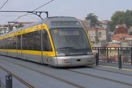 Metro train on the bridge. Porto, Portugal
