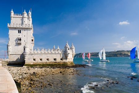 Famous Belem tower. Tagus river; Lisbon; Portugal.