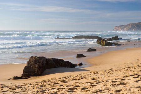sandy beach of ocean coast Stock Photo - 669190