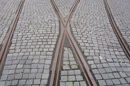 crossroad of two tram rail lines photo