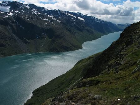 aerial view of azure river among mountains in Norway photo