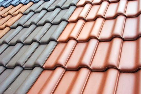 closeup of tiled roof pattern
