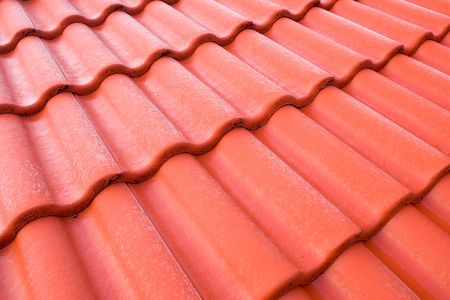 closeup of red tiled roof pattern
