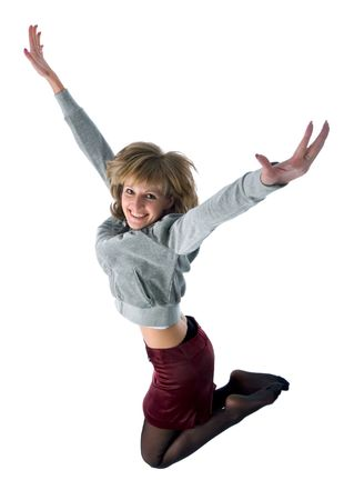 jumping smiling girl. isolated on white background Stock Photo - 909078