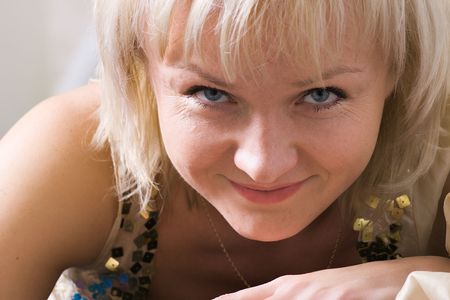 closeup portrait of beautiful happy smiling woman with blue eyes Stock Photo - 909080