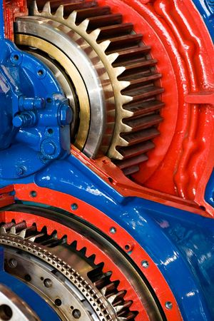 oiled: inner parts of an powerful naval engine